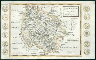 1733 - Rare Antique Map of HEREFORDSHIRE by Herman Moll hand coloured (12)