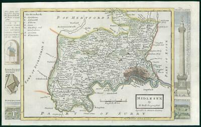 1733 - Rare Original Antique Map of MIDDLESEX by Herman Moll hand coloured (1)