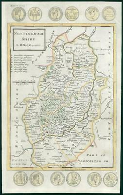 1733 - Rare Antique Map of NOTTINGHAMSHIRE by Herman Moll hand coloured (9)