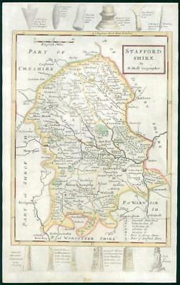 1733 - Rare Antique Map of STAFFORDSHIRE by Herman Moll Hand Coloured (36)
