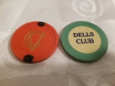2 Illegal Clay Casino Poker Chips Vintage Prohibition Speakeasy Dells VCC Mint