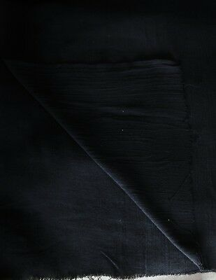 "1⅞ Yds (66"") Black Krinkle Texture Lines Lt Wt Poly Cotton Blend Fabric 37"" W"