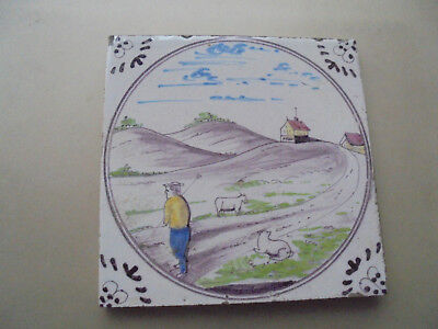 28148 Kachel Fliese tile very good Landschaft aus Fliesentisch 1930 13x13cm