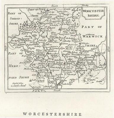c1780 Original Antique Map WORCESTERSHIRE by John Seller / Francis Grose