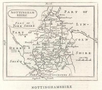 c1780 Original Antique Map NOTTINGHAMSHIRE by John Seller / Francis Grose