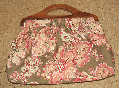 Tapestry Knitting Craft Bag With Wooden Handles & Lined Inside Pockets