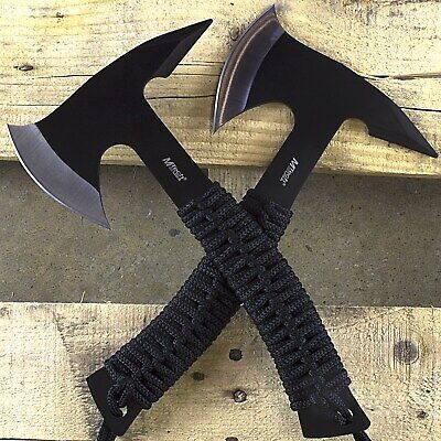 2 PACK TOMAHAWK FULL TANG THROWING AXE SET w/ SHEATH Hatchet Survival Tactical