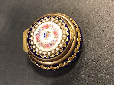 Antique French Silver And Enamel Gilt Snuff Box/ Jeweled/ FranceC. 1850/ Round