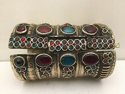 Antique Middle Eastern Islamic Silver Gilded Bracelet / Real Stones