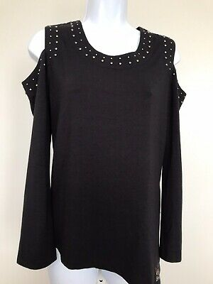a6913c60f31913 Harley Davidson Womens Sz M Cold Shoulder Black Long Sleeve Top Silver Studs