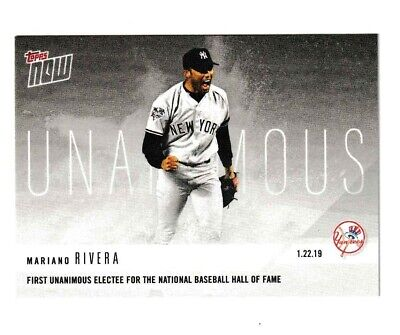 2019 Topps Now Mariano Rivera HOF #OS64 1st Unanimous Electee to Hall of Fame