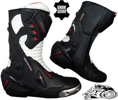 Mens Black & White Motorbike Motorcycle Armour Racing Sports Leather Shoes Boots