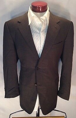 D225 CANALI Super 120s Wool Gray Windowpane Blazer Sport Jacket 45R Pick Stitch
