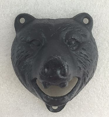 """RUSTIC CAST IRON BLACK BEAR beer soda BOTTLE OPENER """"VINTAGE STYLE"""" GRIZZLY"""