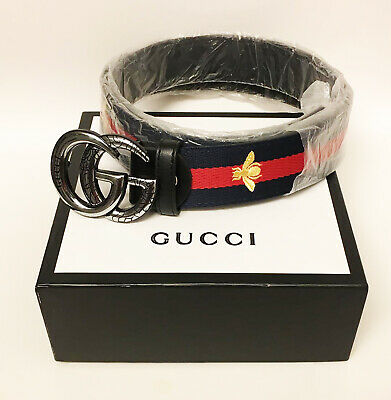 f8ab901a0 Authentic Gucci Double GG Buckle Women's Bee Belt Canvas Size 44 Length 43  NEW