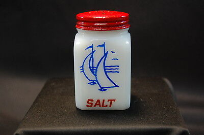 White Milk Glass Salt Shaker with Red Lid