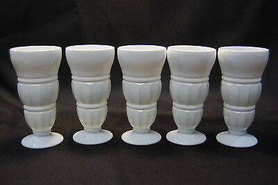 Indiana White Milk Glass Footed Ribbed & Crimped  5PC Tumbler Set