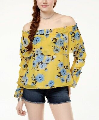 b9727d64e8f6c THE EDIT BY Seventeen Womens Off The Shoulder Top Yellow Large ...
