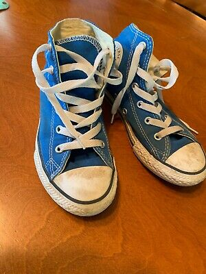 2f08cc10fc3d Converse Chuck Taylor All Star High Top Blue Canvas Kids Shoes Youth Sz 1