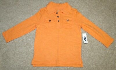 Old Navy Boys Polo/Rugby Dress/Casual Shirt-Long Sleeved-Orange Cream-2T-New!