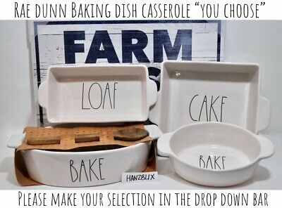 "Rae Dunn BAKE LOAF CAKE Baking Dish Loaf Pan ""YOU CHOOSE"" Wooden Spoon NEW '19"