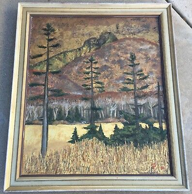 "Vintage Japanese ""Forest"" Landscape Original Oil Painting On Canvas /Signed 1962"