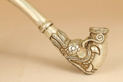 Tibetan Silver copper Smoking Tool Statue Old Sacred Opening Dragon Head pipe