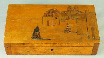 ! Antique Inlaid Wooden Marquetry Folk Art Letter Document Trinket Box