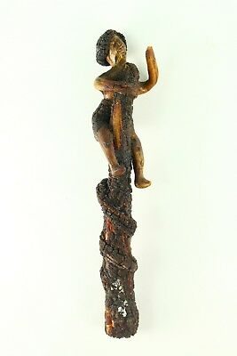 ! Early American Folk Art Carved Wood Figurine - Man chased by Snake on Tree