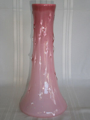 Large Antique Victorian Vintage Opalescent Pink Glass Vase 1900's Europe.