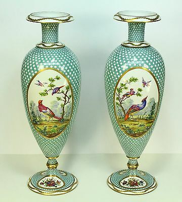 * 1800's Antique LIMOGES Pair FINE Hand Painted Porcelain Tall Vases 21""