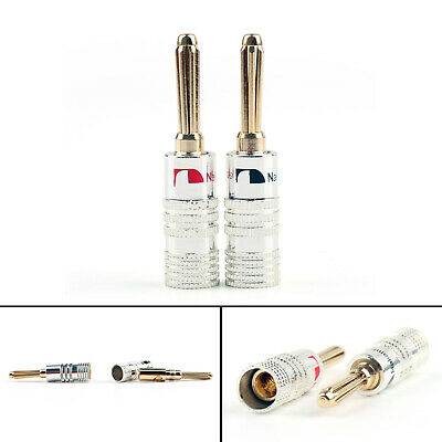 4 Pcs 4Mm Banana Plug Screw Audio Speaker Jack Gold Plated Connector SS