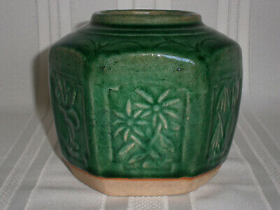 Large Antique Vintage Chinese Gold Rush Green Pottery Ginger Jar 1850's.
