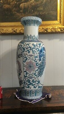Chinese Qing Vase peacock Flowers Stunning Rose Canton