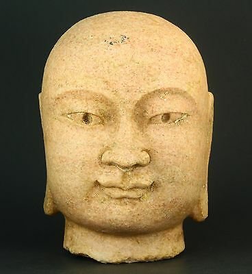 ! Antique FINE Chinese Carved Pink Granite Stone Head of Buddha 9""