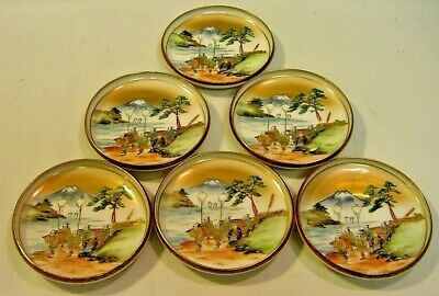 Antique Meiji FINE Japanese KUTANI Set of 6 Side Plates, Hand Painted, Signed