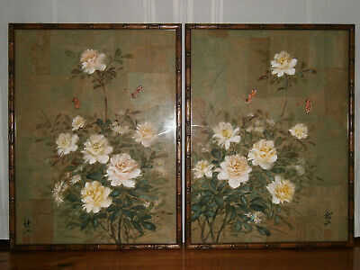 Vintage Signed Pair Chinese Floral Rice Paper Paintings.