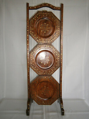 Antique Vintage Inlaid Brass & Copper Folding 3 Tier Timber Stand 1900's.