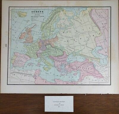 1900 EUROPE Map AFTER VIENNA TREATY 1815 AD CLARE, ISRAEL SMITH Old Antique MAPZ