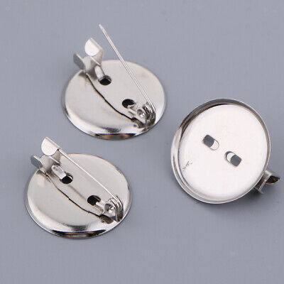 100pcs Iron Blanks Brooch Settings Tray: 20~30mm Jewelry Brooch Component
