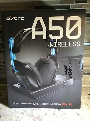 ASTRO Gaming A50 Wireless Dolby Gaming Headset (Black/Blue) PS4 / PC Never Used