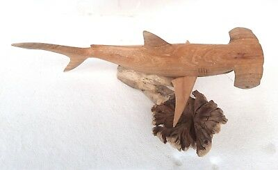Unusual Hand Carved Hammer Head Shark on Parasite Wooden Shark Carving 30cm