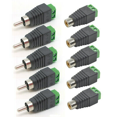 5Pairs Speaker Wire Cable to Male + Female RCA Connector Adapter  Jack Plug LED