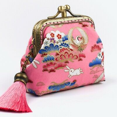 Twin-compartment Handmade Japanese Cranes Pink Coin Purse Collectable #0170