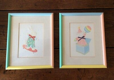 2 x Vintage 80s Nusery Pictures Wall Hangings Rabbit Clown Childrens