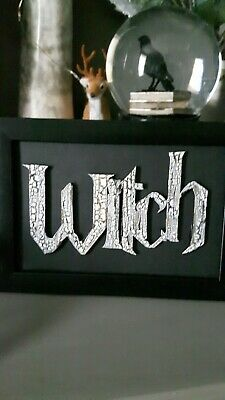 Framed white Witch Picture Wall Hanging Gothic Pagan Wicca alternative BN