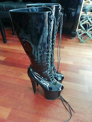 477d07b0fb6a Pleaser Xtreme 2020 Black Patent Knee High Extreme High Heel Boots Lace Up  Front