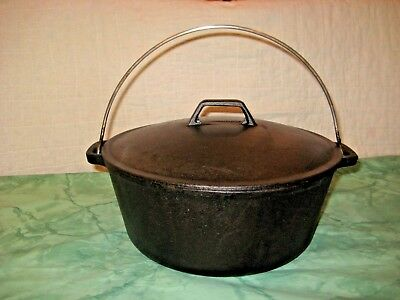 "Vintage  Cast Iron 5qt Dutch Oven w/ Self Basting Lid 10 5/8"" Korea"
