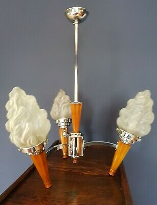 Vintage Art Deco original 1930s three arm chandelier flame glass shades
