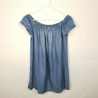 96434a17f5f9 Cloth & Stone Anthropologie Dress Size M Blue Chambray Off the Shoulder  Tencal